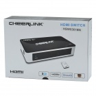 CHEERLINK HSW0301BN 3-i ett-Out 1080P 3-Port HDMI 1.3 switcher m / fjernkontroll / minne - svart