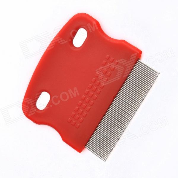 Portable Toothed Grooming  Lice Flea Comb for Pet Dog / Cat - Red + Silver portable clinic clinical pet animal dog and cat refractometer rhc 300 atc blood protein serum urine plasma