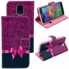 Elonbo Leopard Print Bowknot Design PU Leather Flip Stand Full Body Case for Samsung Galaxy S5 i9600