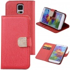 Elonbo Buckle Design PU Leather Flip Stand Full Body Case for Samsung Galaxy S5 i9600 - Red