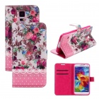 Elonbo Rose Oil Painting Style PU Leather Flip-open Stand Case for Samsung Galaxy S5 i9600 - Pink