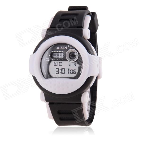 OHSEN Multifunctional Sports Digital Wristwatch w/ Backlight - Black + White (1 x 377)