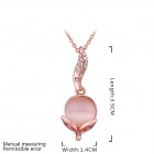 Women's Rose Gold Plated Shiny Crystal Inlaid Opal Pendant Necklace - Rose Gold