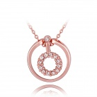 Women's Fashionable Loop Shaped Rhinestone Studded Gold Plated Necklace - Rose Gold