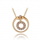 Women's Fashionable Loop Shaped Rhinestone Studded Gold Plated Necklace - Golden