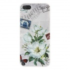 Kinston Flower Pattern Plastic Back Case for IPHONE 5 / 5S - White + Army Green + Multi-Colored