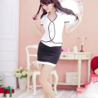 Women's Fashionable Sexy Stewardess Style Cosplay Sleep Dress Set - White
