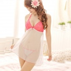 De las mujeres de moda sexy sin respaldo de nylon Sleep Dress Set w / T-Back - Deep Pink + White
