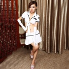 Women's Fashionable Sexy Police Style Cosplay Role Play Sleep Dress Set - Blue