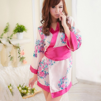 Women's Fashionable Sexy Kimono Style Sleep Dress Set - Red