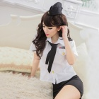 Women's Fashionable Sexy Police Style Role Play Sleep Dress Set - White + Black