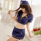 Women's Fashionable Sexy Police Style Role Play Sleep Dress Set - Blue