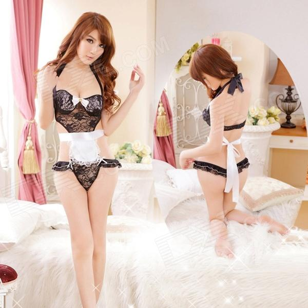 Women's Fashionable Sexy Maid Style Cosplay Sleep Dress Set - White + Black