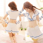 Women's Fashionable Sexy Student Style Cosplay Role Play Sleep Dress Set - White + Blue