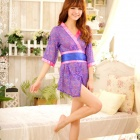 Women's Fashionable Sexy Kimono Style Sleep Dress Lingerie Set - Purple