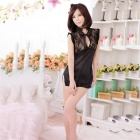 Women's Fashionable Sexy Chinese Robes Qipao Style Sleep Dress Set - Black