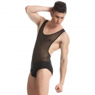 Men's Fashionable Sexy See-through Jumpsuit Lingerie Sleepwear - Black