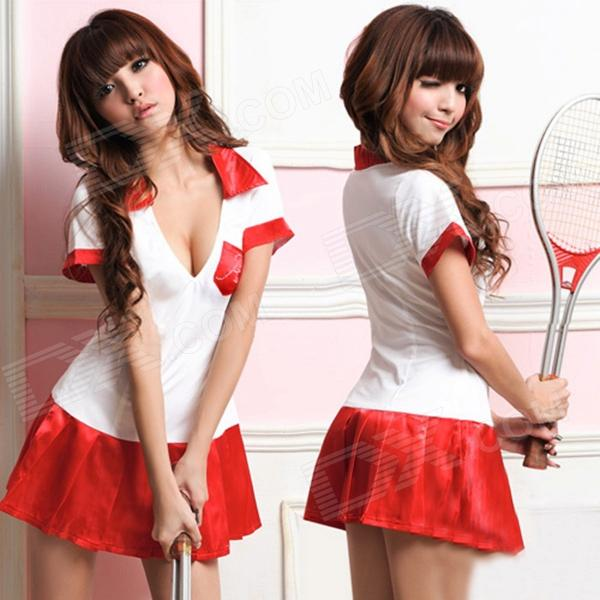 Feminina moda Sexy Tennis Player Estilo Cosplay sono Vestido Set - White + Red