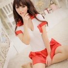Women's Fashionable Sexy Tennis Player Style Cosplay Sleep Dress Set - White + Red
