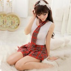 Women's Fashionable Sexy Student Style Cosplay Sleep Dress Set - White + Red
