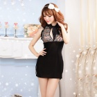 Women's Fashionable Sexy Cheongsam Style Lace Sleep Dress Set w/ T-Back - Black