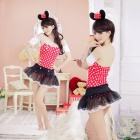 Women's Fashionable Sexy Cartoon Cosplay Role Play Sleep Dress Set - Red