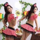 Women's Fashionable Sexy Mickey Style Cosplay Sleep Dress Set - White + Red