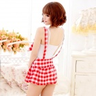 Women's Fashionable Sexy Student Style Cosplay Role Play Sleep Dress Set - White + Red