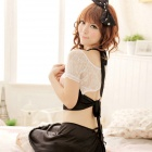 Women's Fashionable Sexy Secretary Style Cosplay Sleep Dress Set - Black + White