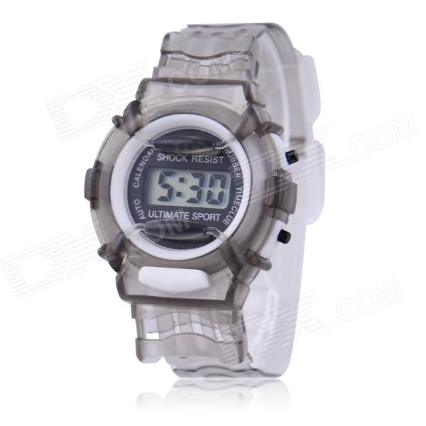 Children's Sports Style Translucent Digital Quartz Wrist Watch - Grey (1 x CR2016) hoska hd030b children quartz digital watch