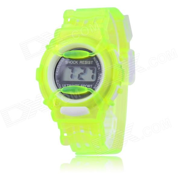 Children's Sports Style Translucent Digital Quartz Wrist Watch - Green (1 x CR2016) hoska hd030b children quartz digital watch