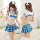 Buy Women's Fashionable Sexy Loli Style Chiffon Sleep Dress - White + Blue