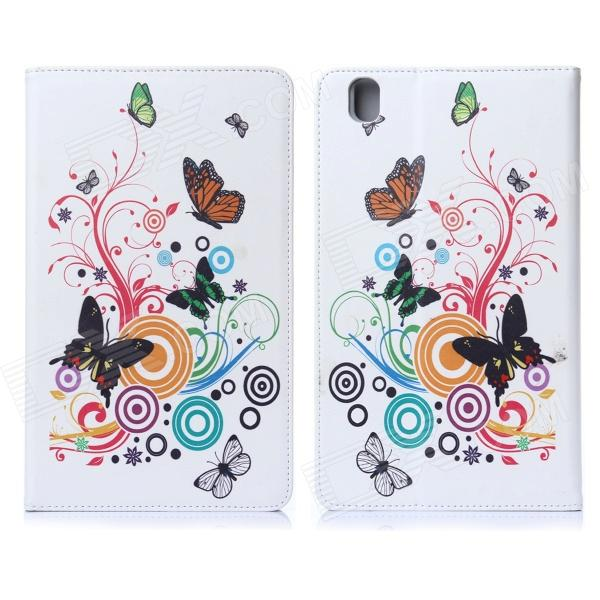 DF-004 Butterfly Pattern Protective PU + Plastic Case for Samsung Galaxy Pro 8.4 T320 - Multicolored kinston flowers butterfly pattern pu plastic case w stand for iphone 6 plus multicolored