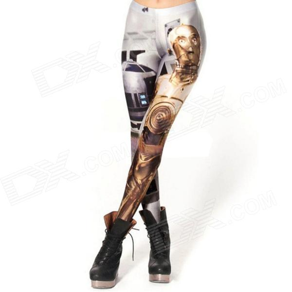 Elonbo Y1A12 Women's Golden Warrior Style Digital Painting Tight Leggings - Silver + Multi-Colored
