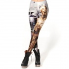 Elonbo Y1A12 Dame gylne Warrior stil Digital Pain Tight Leggings - Silver + flerfargede