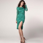 Fashionable Sexy Round Neck Long Sleeves Polyester Dress - Green