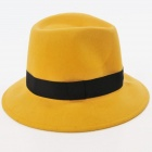 FenLu Men's Stylish Weaving Fedora Hat - Yellow