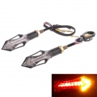 2W 112LM 14-LED Yellow Light Steering / Brake Light for Motorcycle - Black