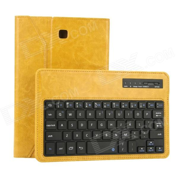 EPGATE Wireless Bluetooth V3.0 Keyboard + Protective PU Leather Case for Samsung T330 - Yellow usb wireless bluetooth v3 0 59 key keyboard w protective pu abs case for samsung n5100 blue