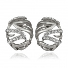 Women's Elegant Rhinestone Inlaid Oval Shaped Ear Studs - Silver (Pair)