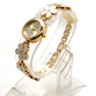 L-10 Women's Stylish Petals Style Bracelet Quartz Analog Wristwatch - Golden + White (1 x LR626)