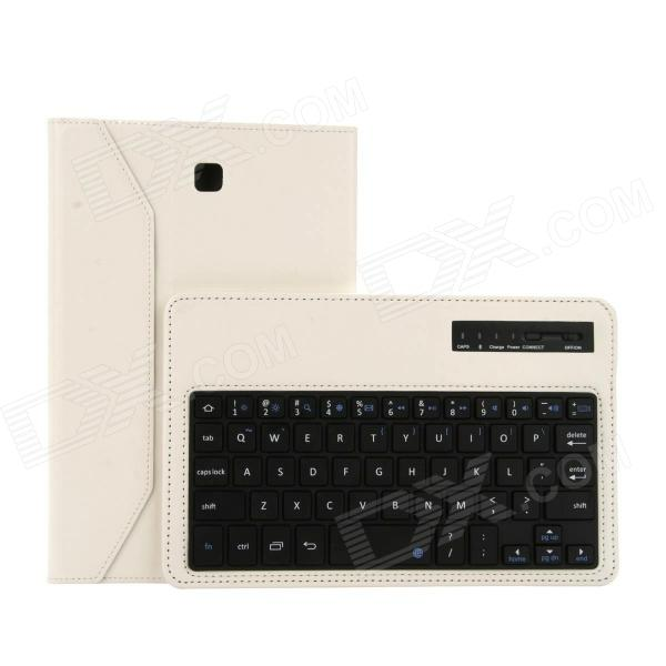 EPGATE Wireless Bluetooth V3.0 Keyboard + Protective PU Leather Case for Samsung T330 - White usb wireless bluetooth v3 0 59 key keyboard w protective pu abs case for samsung n5100 blue