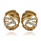 Women's Elegant Rhinestone Inlaid Oval Shaped Ear Studs - Golden (Pair)