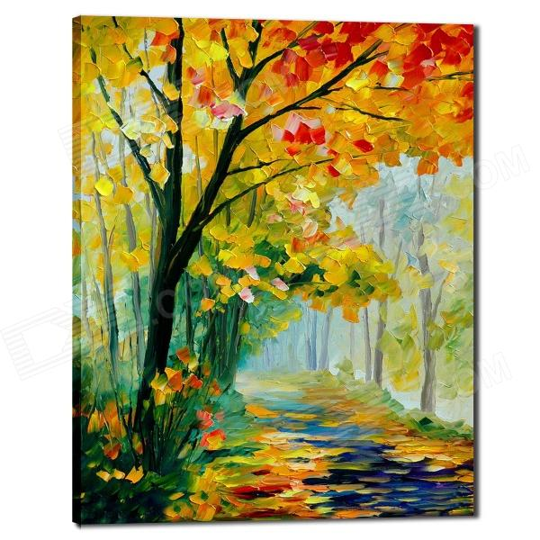 Iarts DX0613-08 Hand-painted Autumn Trees beside the Road with Fallen Leaves Oil Painting - Yellow the trees trees the garden of jane delawney lp