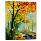 "Iarts DX0613-08 Hand-painted ""Autumn Trees beside the Road with Fallen Leaves"" Oil Painting - Yellow"