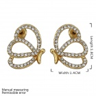 Women's Sweet Butterfly Shaped Rhinestone Inlaid Gold Plated Ear Stud - Golden + Silver (Pair)