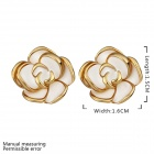 Elegant Flower Shaped Gold Plated Ear Studs for Women - White + Golden (Pair)