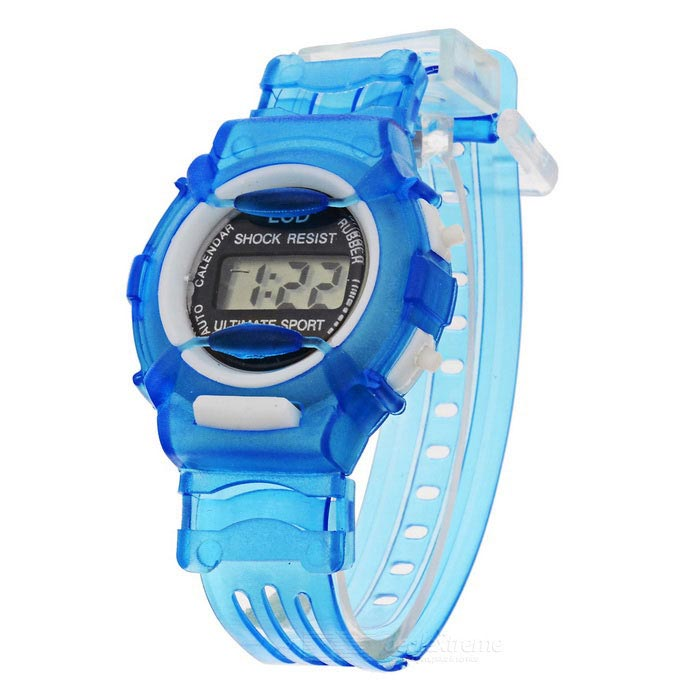 Children's Sports Style Translucent Digital Quartz Wrist Watch - Blue (1 x CR2016) hoska hd030b children quartz digital watch