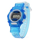 Children's Sports Style Translucent Digital Quartz Wrist Watch - Blue (1 x CR2016)