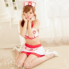 Women's Fashionable Sexy Nurse Style Cosplay Sleep Dress Set - White + Red